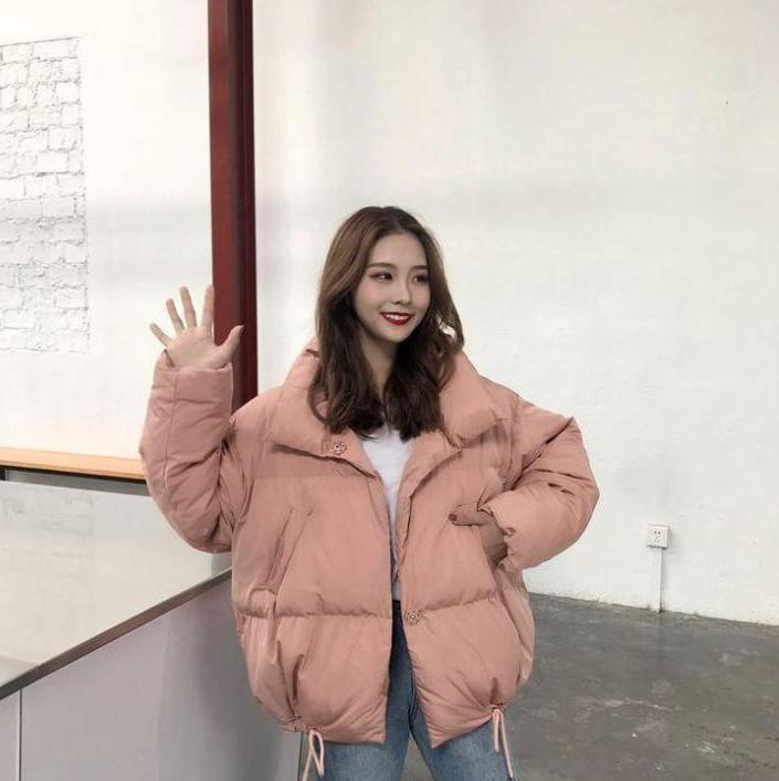 itGirl Shop PUFF COTTON OVERSIZED WHITE PINK OUTWEAR CROP JACKET