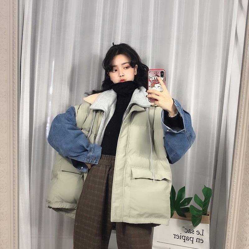 itGirl Shop PUFF PADDED DENIM SLEEVES THICK WINTER JACKET