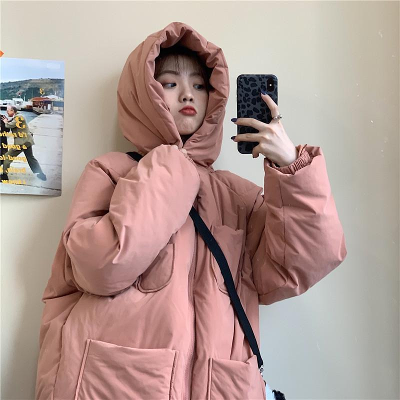 itGirl Shop PUFF PADDED SOLID COLORS HOODED OUTWEAR JACKET
