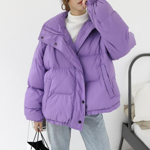 itGirl Shop PUFF WARM OVERSIZE QUILTED LILAC OUTWEAR ZIPPER JACKET