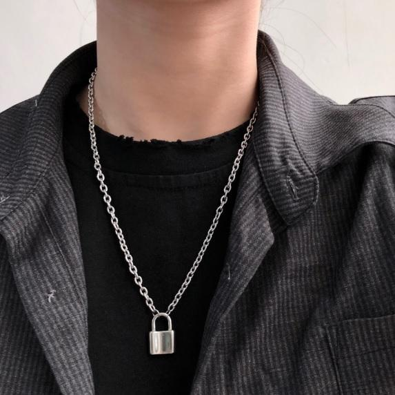 itGirl Shop PUNK AESTHETIC HUGE SILVER PADLOCK CHAIN NECKLACE