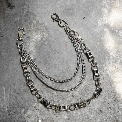 itGirl Shop PUNK AESTHETIC WAIST BELT SILVER METAL PIN CHAINS