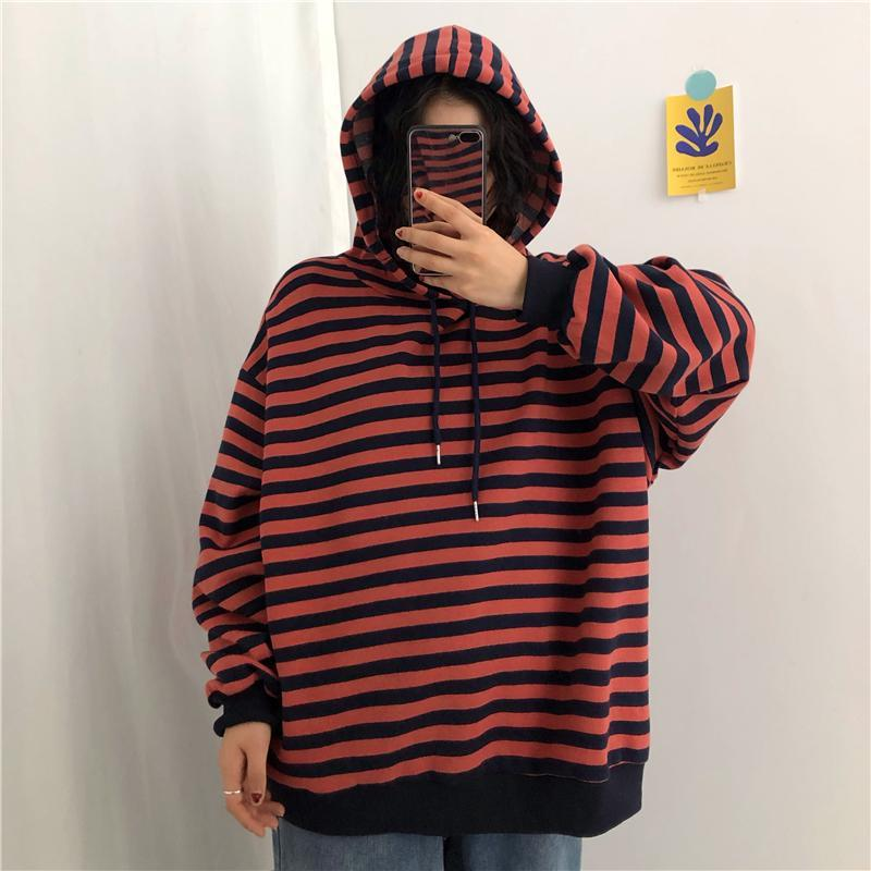 itGirl Shop PUNK EMO STYLE CONTRAST STRIPES OVERSIZED HOODIE
