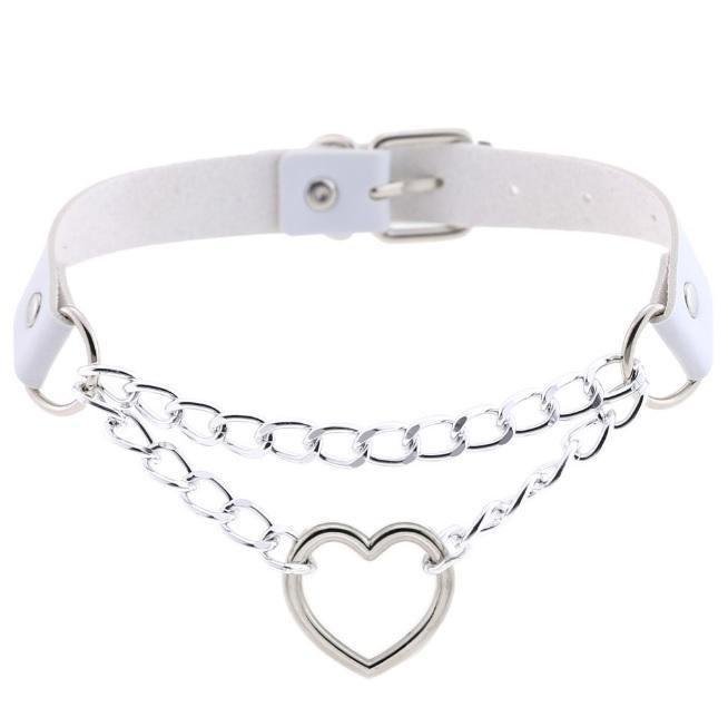 itGirl Shop PUNK LEATHER HEART CIRCLE CHAINS CHOCKER