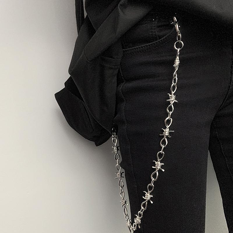 itGirl Shop PUNK METALLIC SPIKES PANTS CHAIN BRACELET NECKLACE