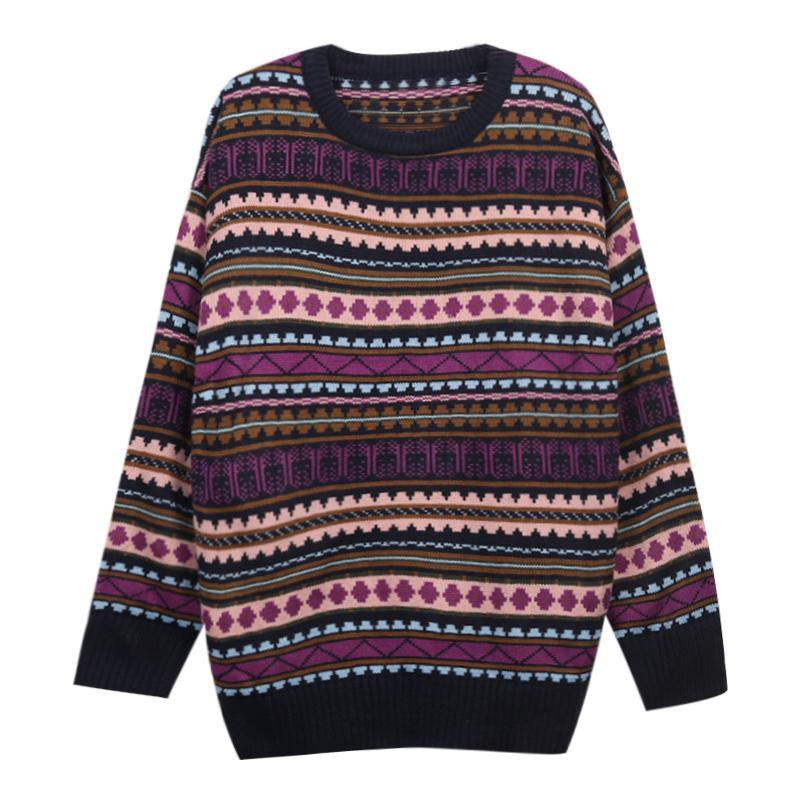 itGirl Shop PURPLE GEOMETRIC PATTERN OVERSIZED KNITTED SWEATER