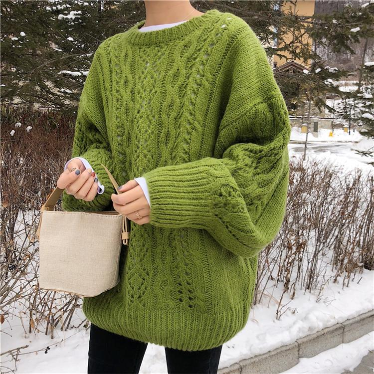 itGirl Shop PURPLE GREEN RETRO KNIT BRAIDS WARM OVERSIZED SWEATER
