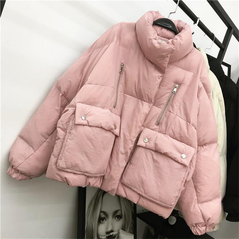 itGirl Shop QUILTED PUFF WARM OUTWEAR BLACK PINK JACKET