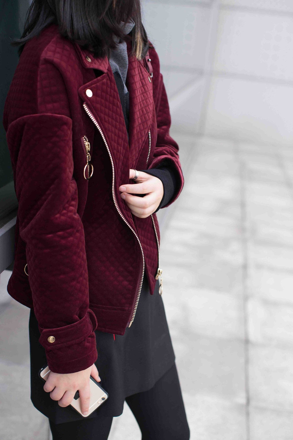 itGirl Shop QUILTED VELVET RED WINE MOTORCYCLE JACKET