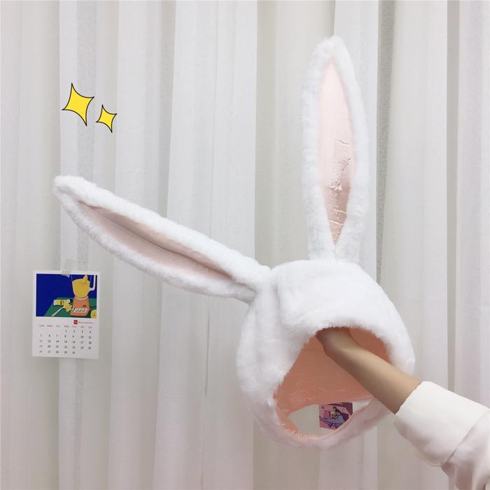 itGirl Shop RABBIT BUNNY FLEXIBLE EARS WHITE GRAY PINK CUTE HAT