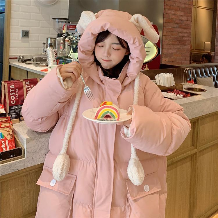 itGirl Shop RABBIT EARS HOODED PASTEL PINK PADDED OUTWEAR JACKET