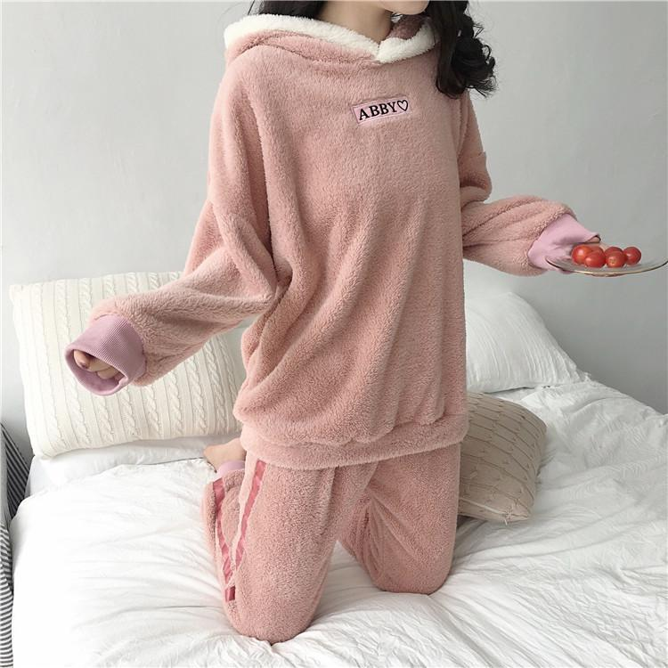 itGirl Shop RABBIT EARS PLUSH WARM SOFT PANTS COZY PAJAMA