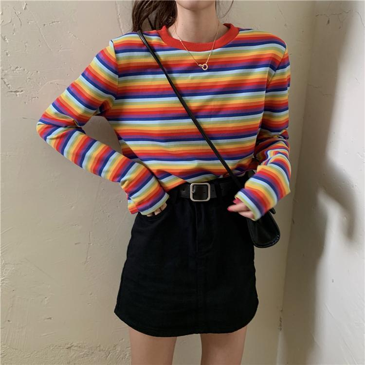 RAINBOW AND PASTEL STRIPES TUMBLR LOOSE CROPPED SHIRT