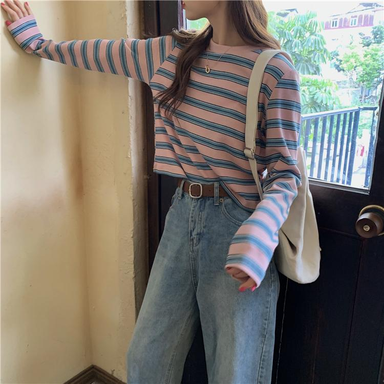 itGirl Shop RAINBOW AND PASTEL STRIPES TUMBLR LOOSE CROPPED SHIRT