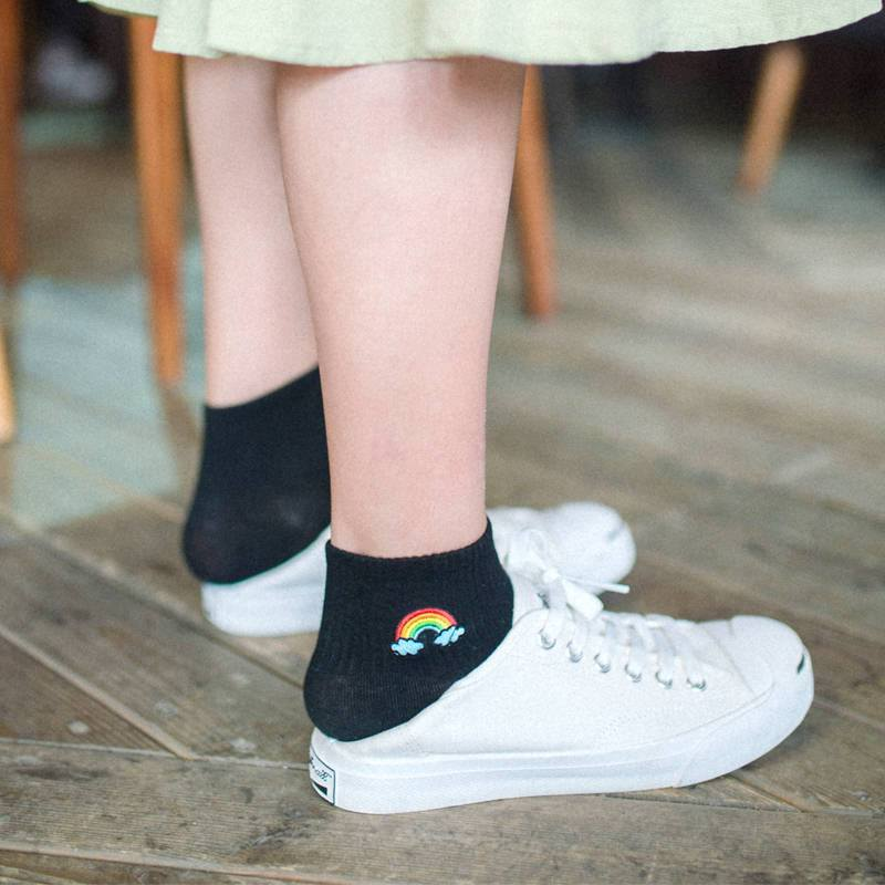 itGirl Shop RAINBOW EMBROIDERY CUTE ANKLE COTTON SOCKS