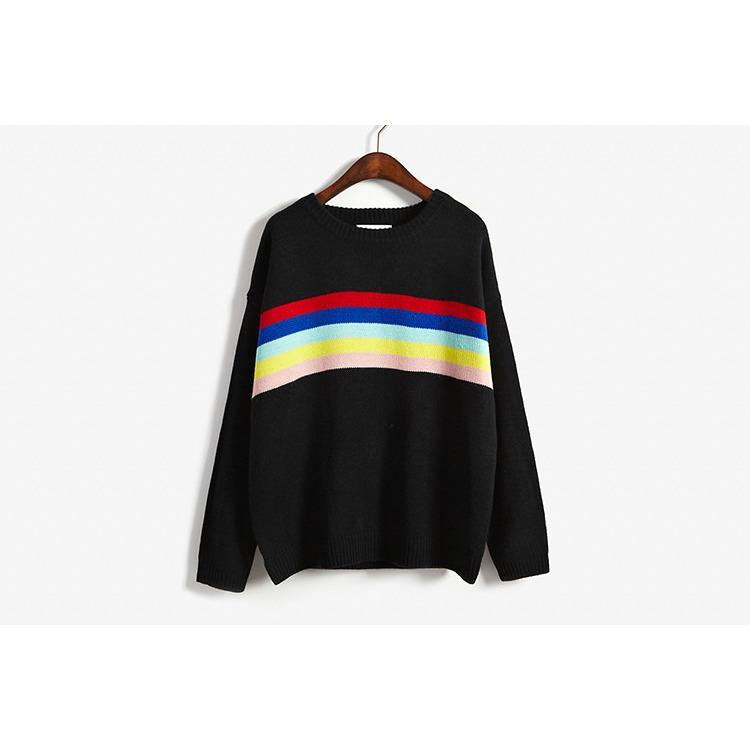 itGirl Shop RAINBOW KNIT LINES SWEATER