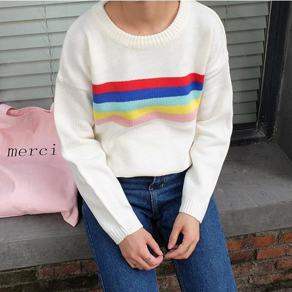 Buy Cheap Aesthetic Clothing RAINBOW KNIT LINES SWEATER Sale 30% OFF itGirl Shop itgirlclothing.com