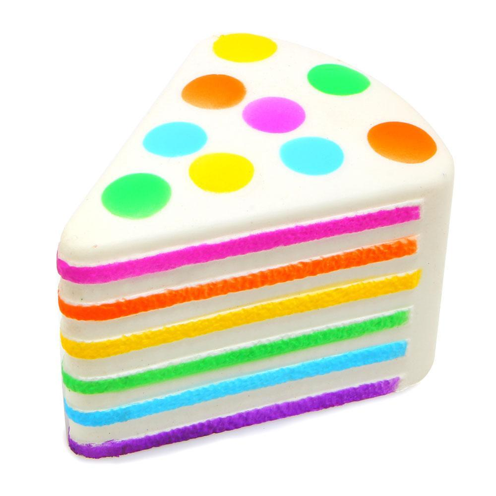itGirl Shop RAINBOW PIECE OF CAKE SQUISHY DESERT SATISFIED RUBBER ANTISTRESS HAND TOY