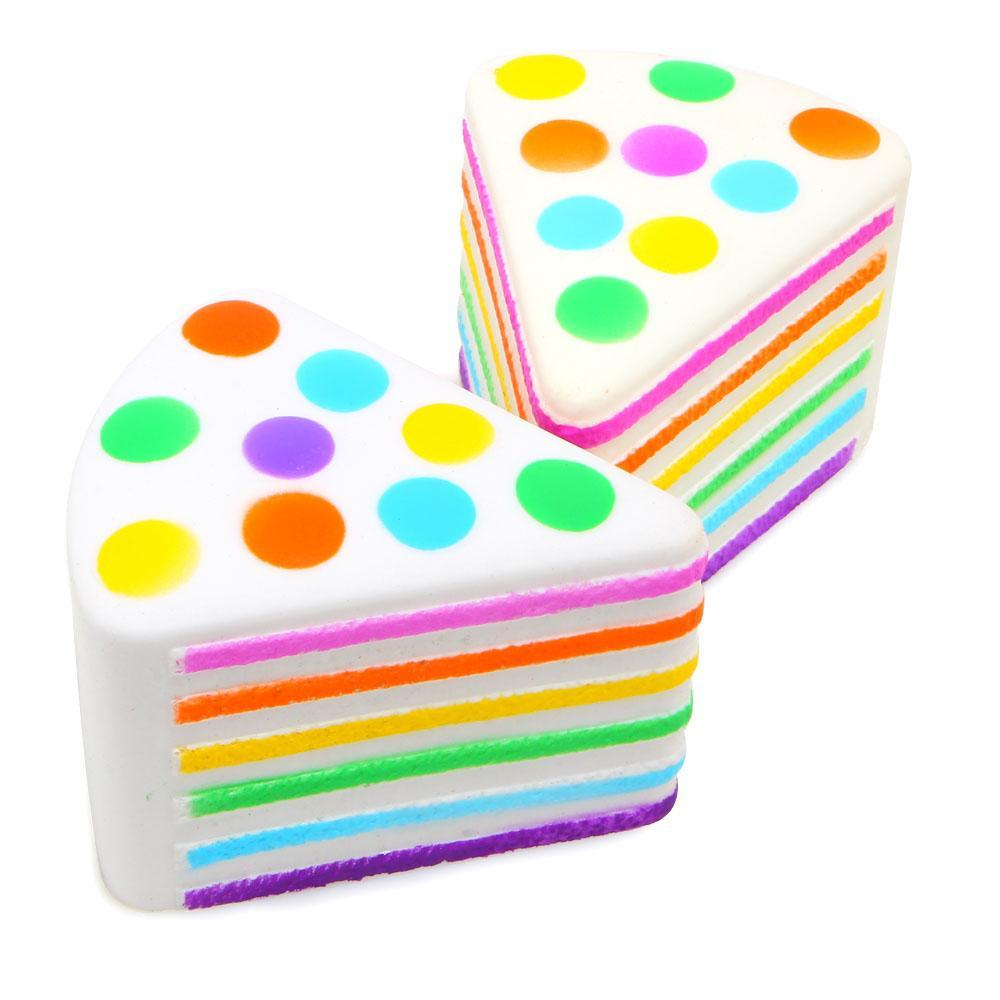 RAINBOW PIECE OF CAKE SQUISHY DESERT SATISFIED RUBBER ANTISTRESS HAND TOY