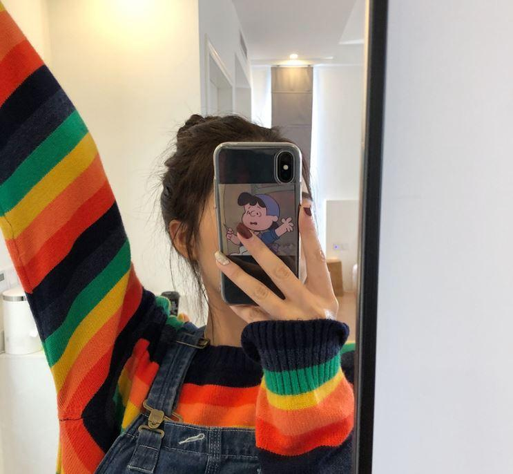 itGirl Shop RAINBOW STRIPED ROUND NECK KNITTED SWEATER