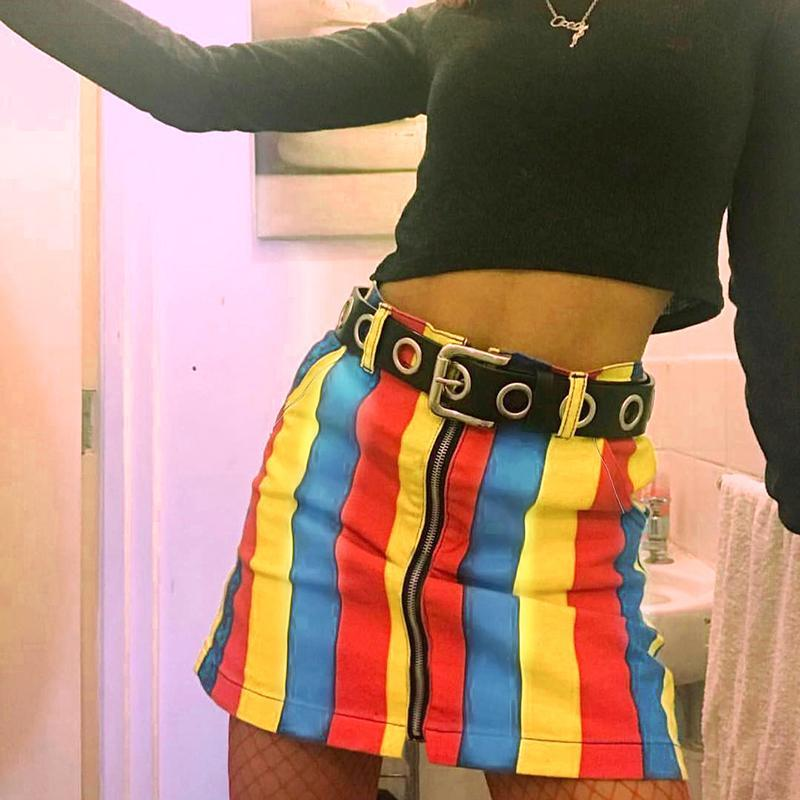 itGirl Shop RAINBOW STRIPES COLORFUL HIGH WAIST MINI TUBE SKIRT
