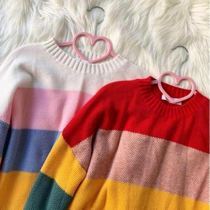 RAINBOW STRIPES KNITTED O-NECK OVERSIZED SWEATER