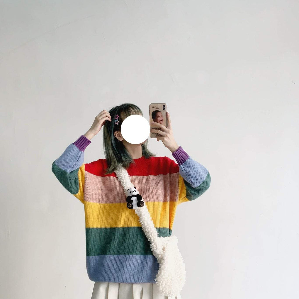 itGirl Shop RAINBOW STRIPES KNITTED O-NECK OVERSIZED SWEATER