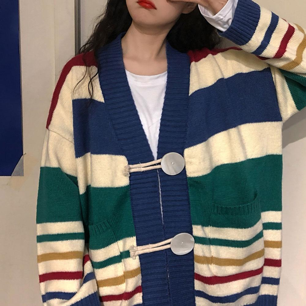 itGirl Shop RAINBOW STRIPES OVERSIZED KNIT CARDIGAN WITH BIG BUTTONS