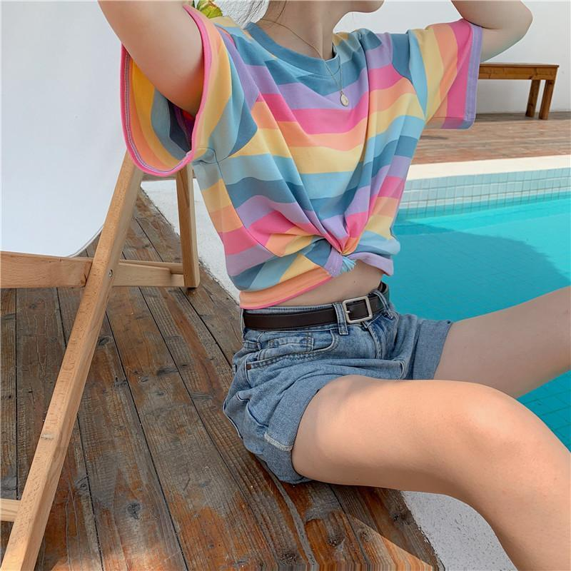 itGirl Shop RAINBOW STRIPES PASTEL AESTHETIC KAWAII LOOSE T-SHIRT