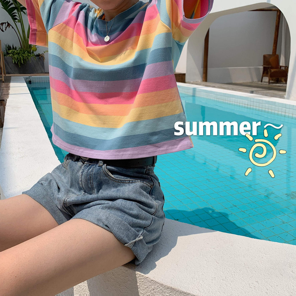 RAINBOW STRIPES PASTEL AESTHETIC KAWAII LOOSE T-SHIRT