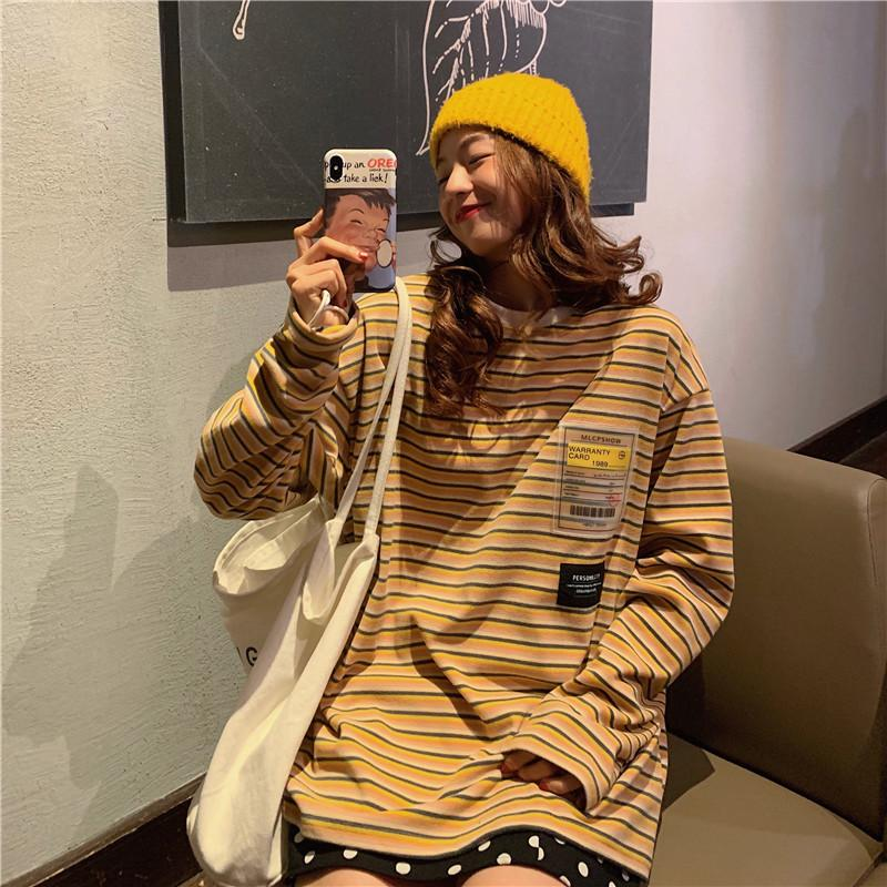 itGirl Shop RAINBOW STRIPES ULZZANG OVERSIZED SWEATSHIRT