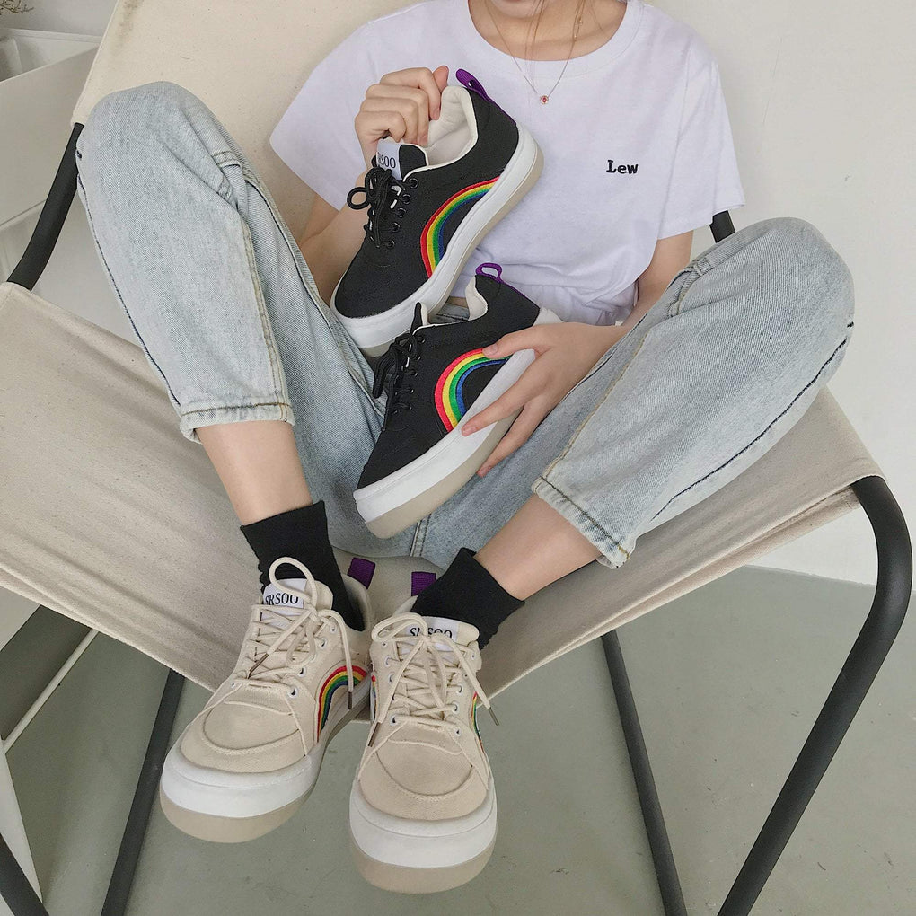 itGirl Shop RAINBOW TUMBLR AESTHETIC FLAT PLATFORM SNEAKERS