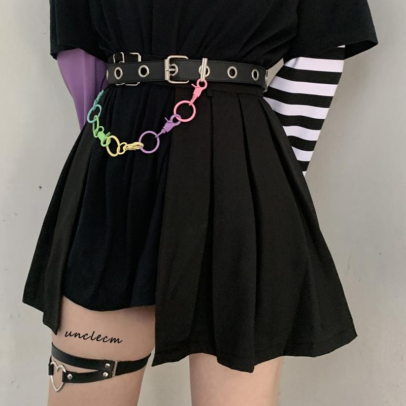 itGirl Shop RAINBOW WAIST CHAIN GRUNGE METALLIC HOLES BELT