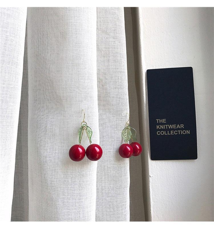 itGirl Shop RED CHERRY LEAF CUTE EARRINGS