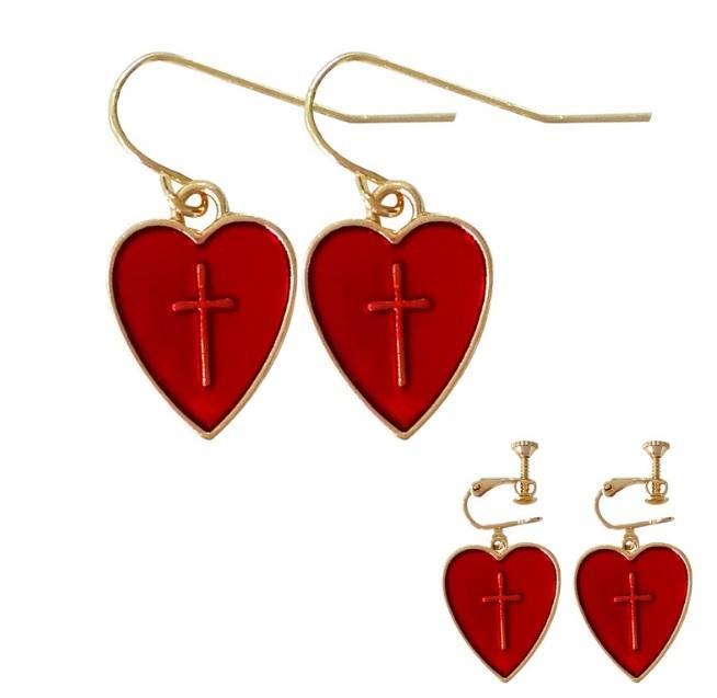 itGirl Shop RED HEARTS CROSSES METALLIC SASSY EARRINGS