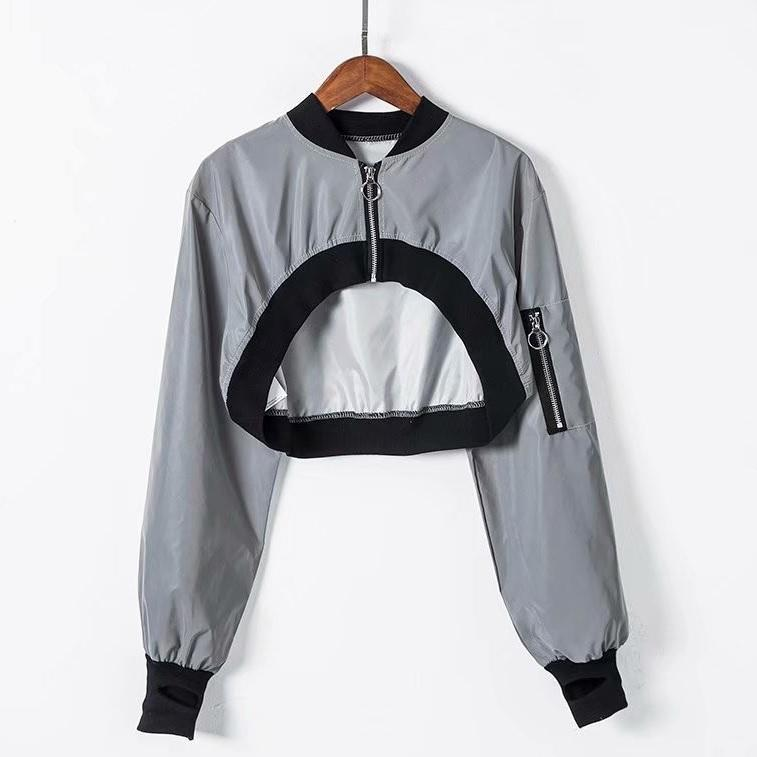 REFLECTIVE GRAY PUFFED SLEEVES SHORT CROPPED JACKET