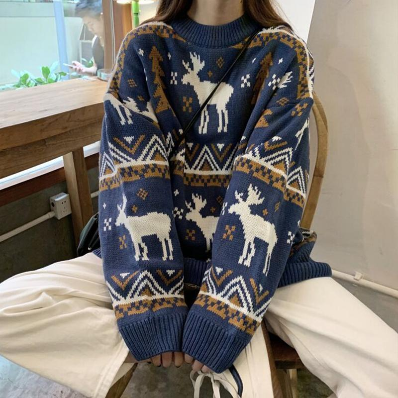 itGirl Shop REINDEER HOLIDAY VINTAGE PATTERN KNIT LOOSE SWEATER