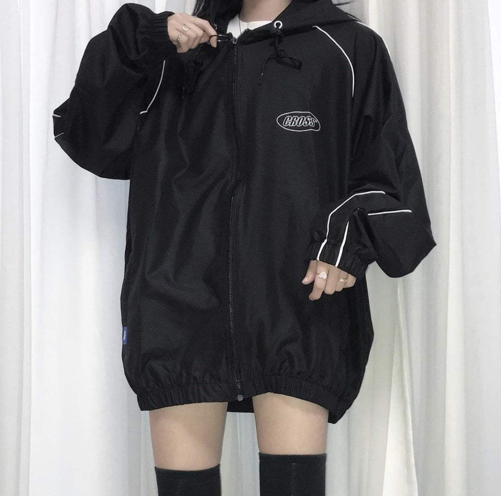 itGirl Shop RETRO 90s CROSS LOGO LOOSE HOODED BLACK JACKET