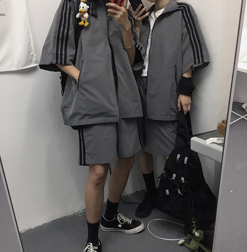 itGirl Shop RETRO AESTHETIC GRAY JACKET + SHORTS SPORTY SUIT