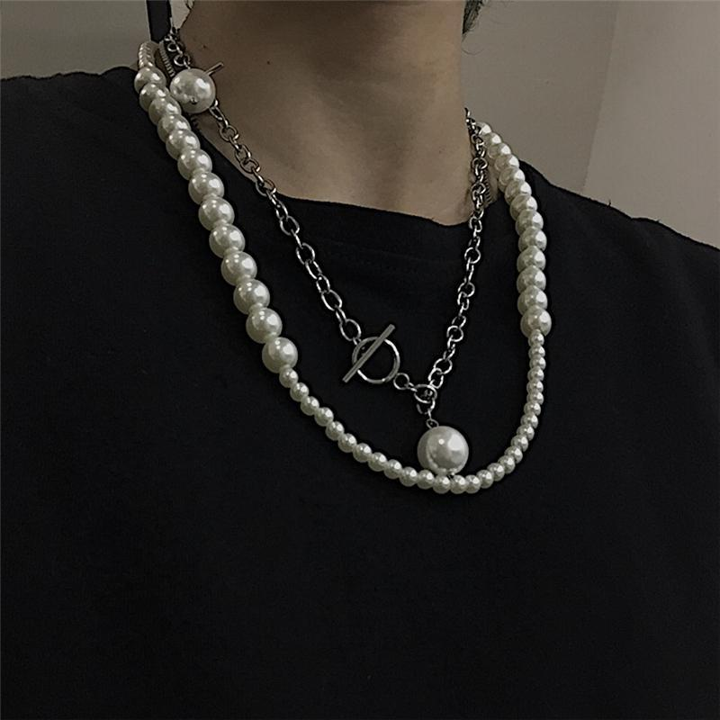itGirl Shop RETRO AESTHETIC PEARL BEADS SILVER CHAIN NECKLACE