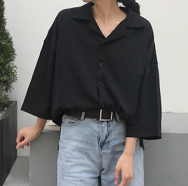 itGirl Shop RETRO BLACK BEIGE THIN CHIFFON LOOSE BLOUSE