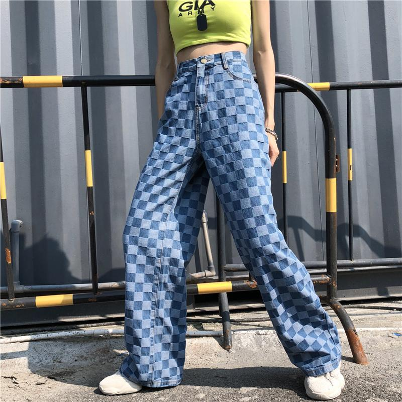 itGirl Shop RETRO BLUE CHECKERED WASHED DENIM LOOSE PANTS
