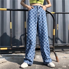 RETRO BLUE CHECKERED WASHED DENIM LOOSE PANTS