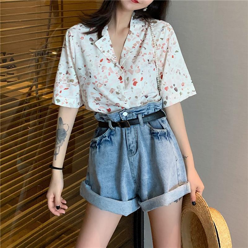 RETRO BLUE DENIM HIGH WAIST LOOSE SHORTS