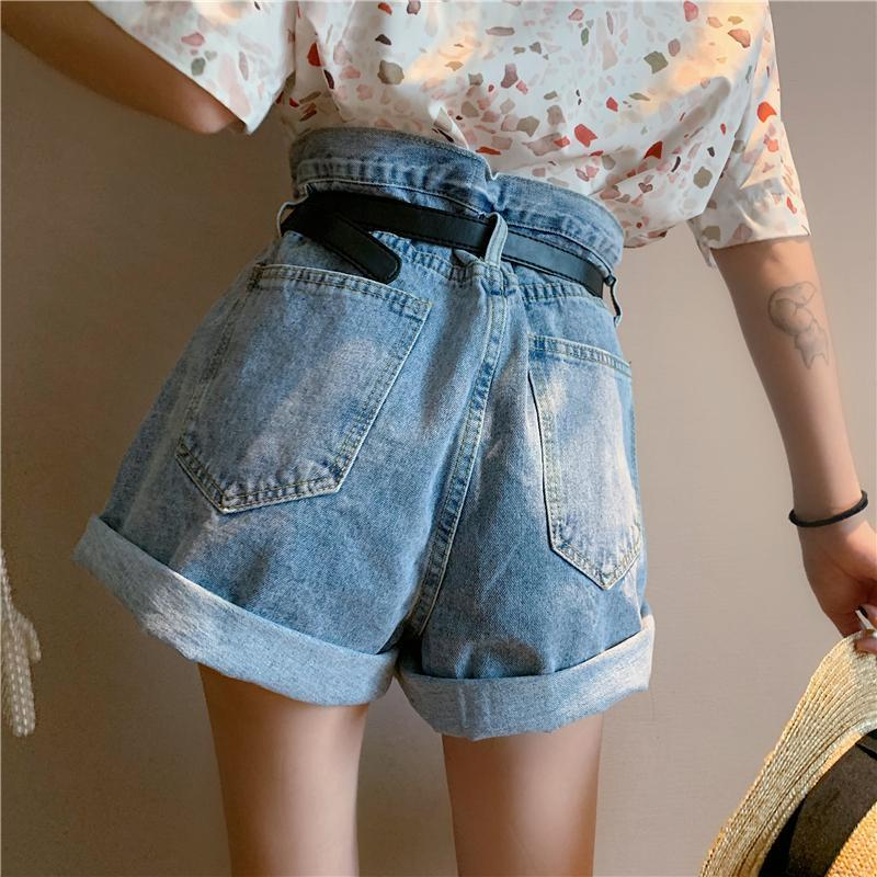 itGirl Shop RETRO BLUE DENIM HIGH WAIST LOOSE SHORTS