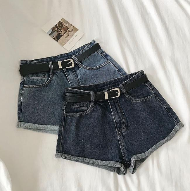 itGirl Shop RETRO BLUE SUMMER HIGH WAIST SLIM DENIM SHORTS