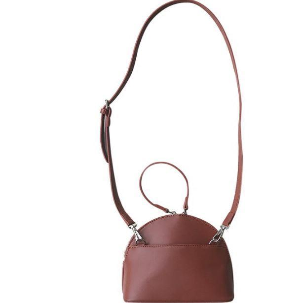 itGirl Shop RETRO BROWN BLACK LEATHER PU SMALL SHOULDER BAG