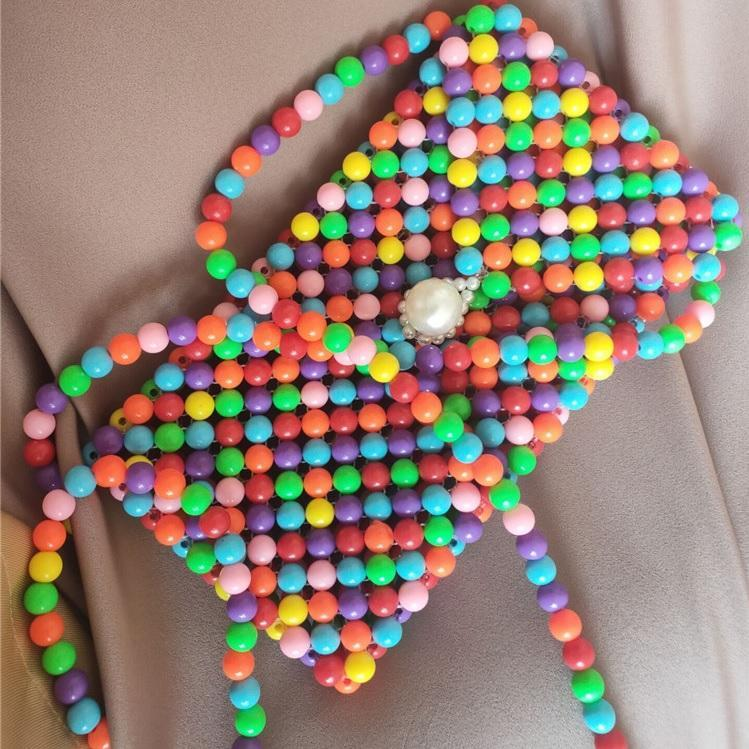 itGirl Shop RETRO CANDY COLOR RAINBOW BEADS PURSE BEAD BAG