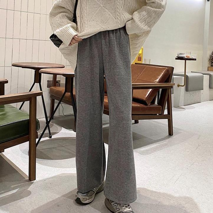 itGirl Shop RETRO CORDUROY OVERSIZE HIGH WAIST FLARED PANTS