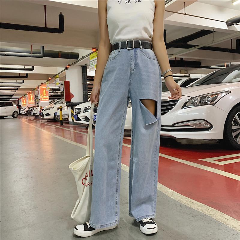 itGirl Shop RETRO DENIM LIGHT BLUE RIPPED WIDE LOOSE PANTS